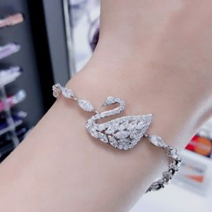Swarovski Swan Bangle, White, Rhodium plating